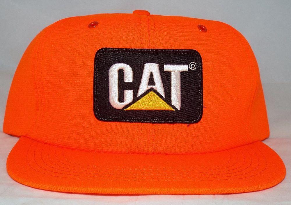 68ede3e5d48 NEW vintage CAT Snapback FOAM Trucker Blaze ORANGE Caterpillar USA Hats Caps   Cat