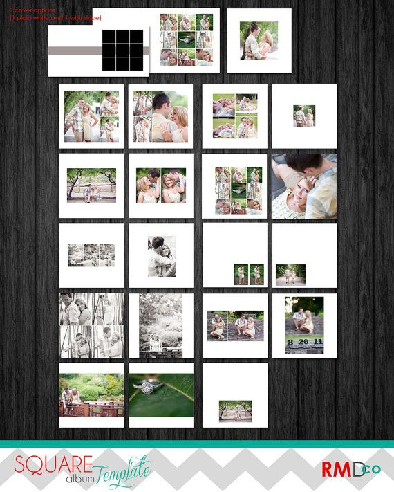 Modern Square Album design TEMPLATE - layered PSD files - Clean - photo album templates free