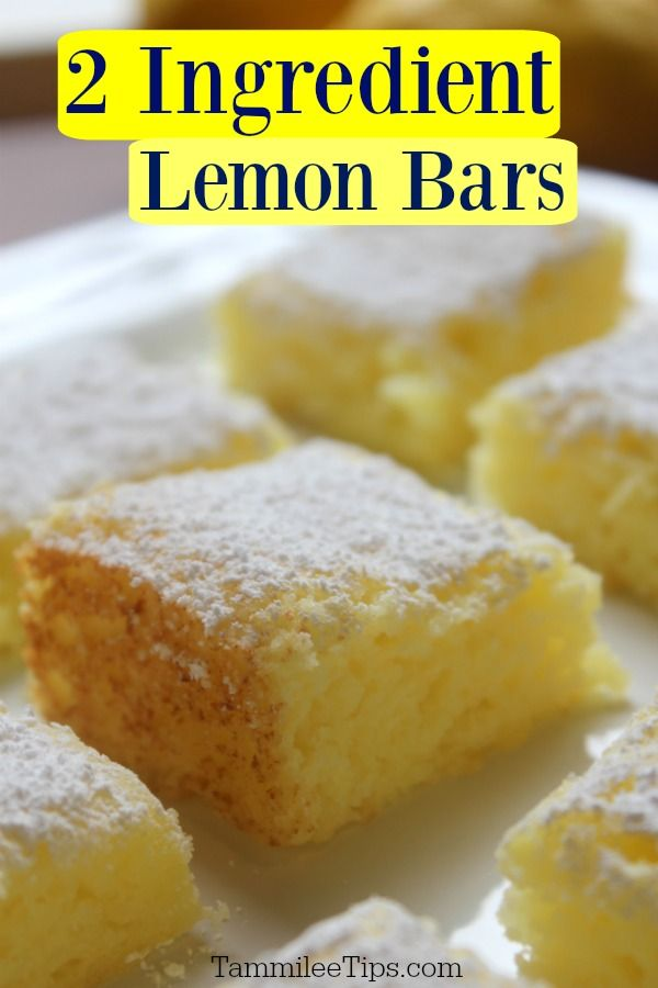 Super easy 2 ingredient Lemon Bars Recipe! No eggs, made with cake mix, and pie filling! This delic