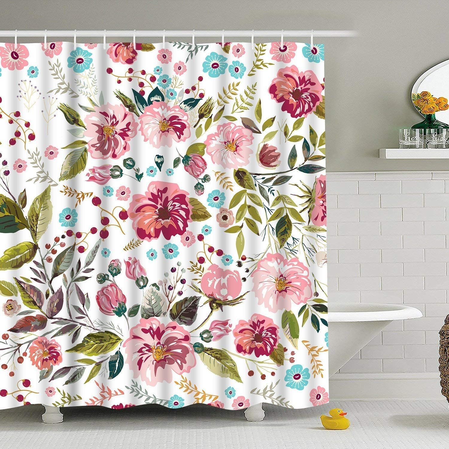 Modern Timesm Bathroom Shower Curtain Colorful Flower Shower
