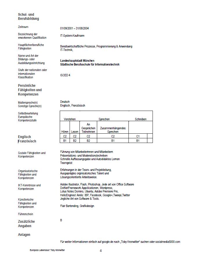 Mein Europass Lebenslauf von 2011 - Seite 4 | Klassischer Lebenslauf ...