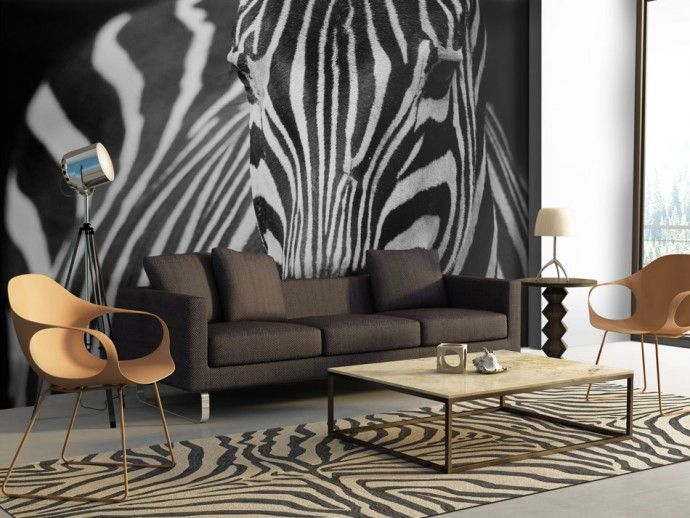 Papier peint moderne Blanc à rayures noires