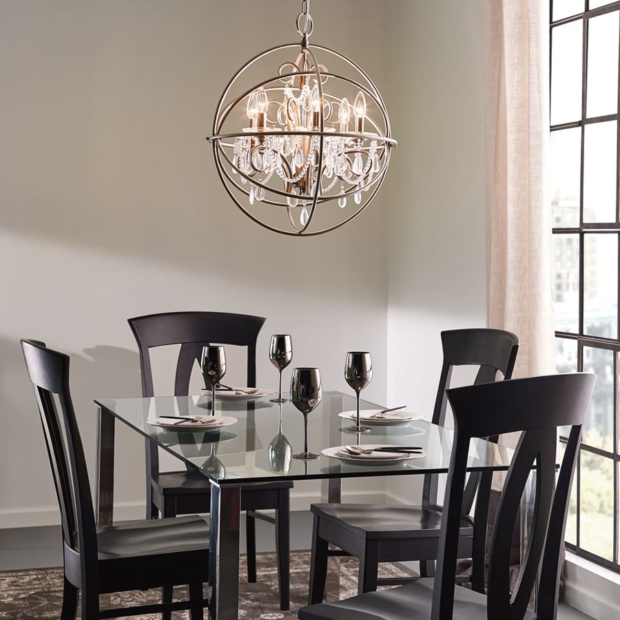 Brushed Nickel Dining Room Light Fixtures Shop Kichler Lighting 6Light Brushed Nickel Chandelier At Lowes