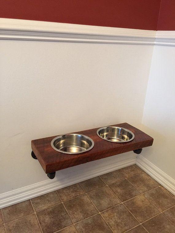 Reclaimed Barn Wood Floating Raised Dog Feeder Raised