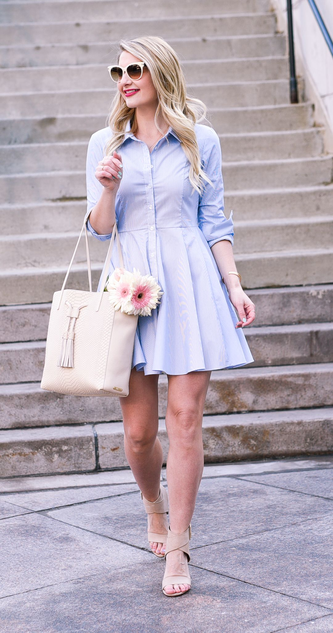 A blue shirtdress and spring accessories warm weather weather and