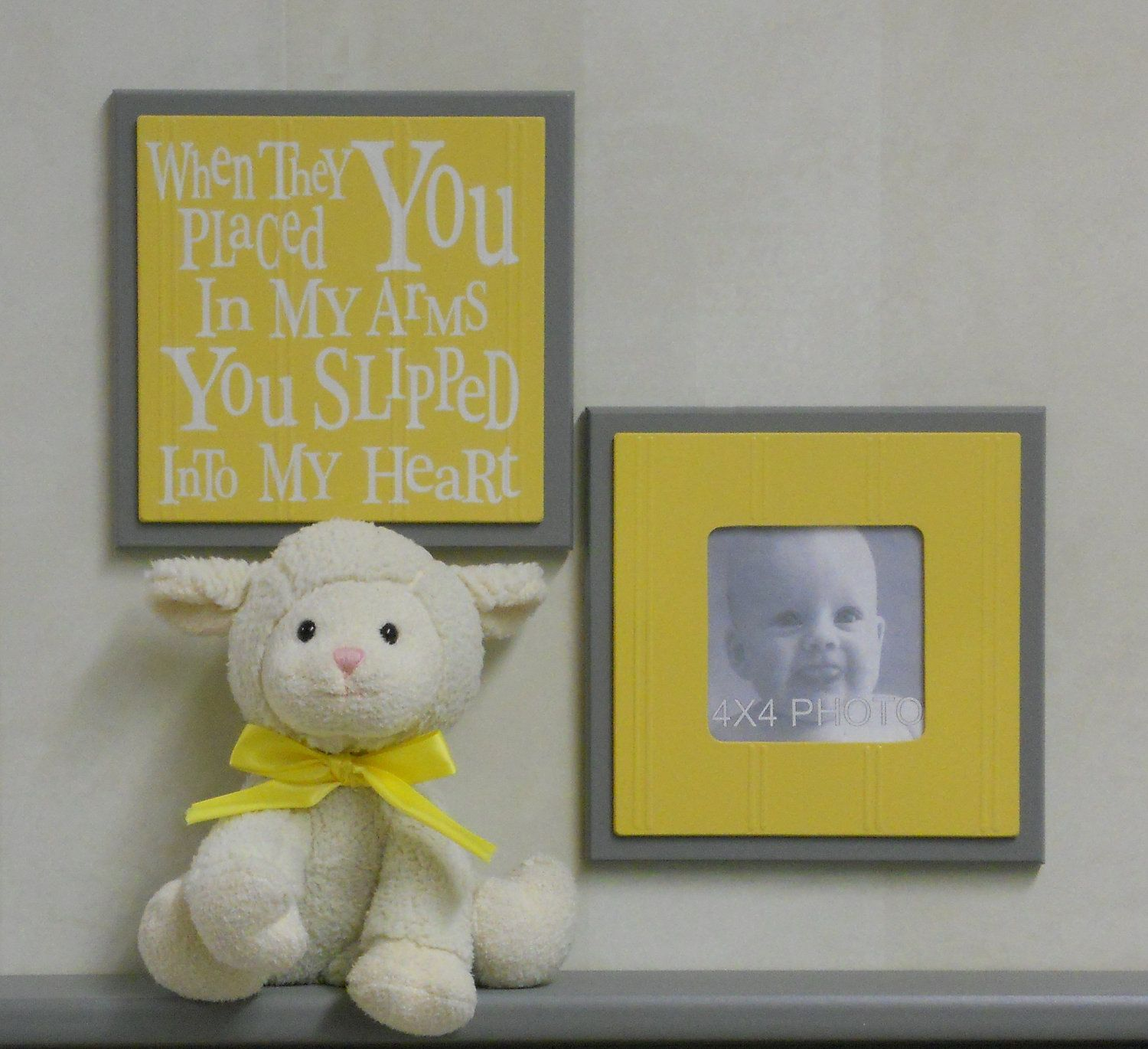 Gray and Yellow Baby Nursery Wall Decor - Set of 2 - Photo Frame and ...