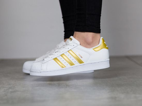be4b12e2cdb Adidas Trainer Junior Superstar White Gold Metallic