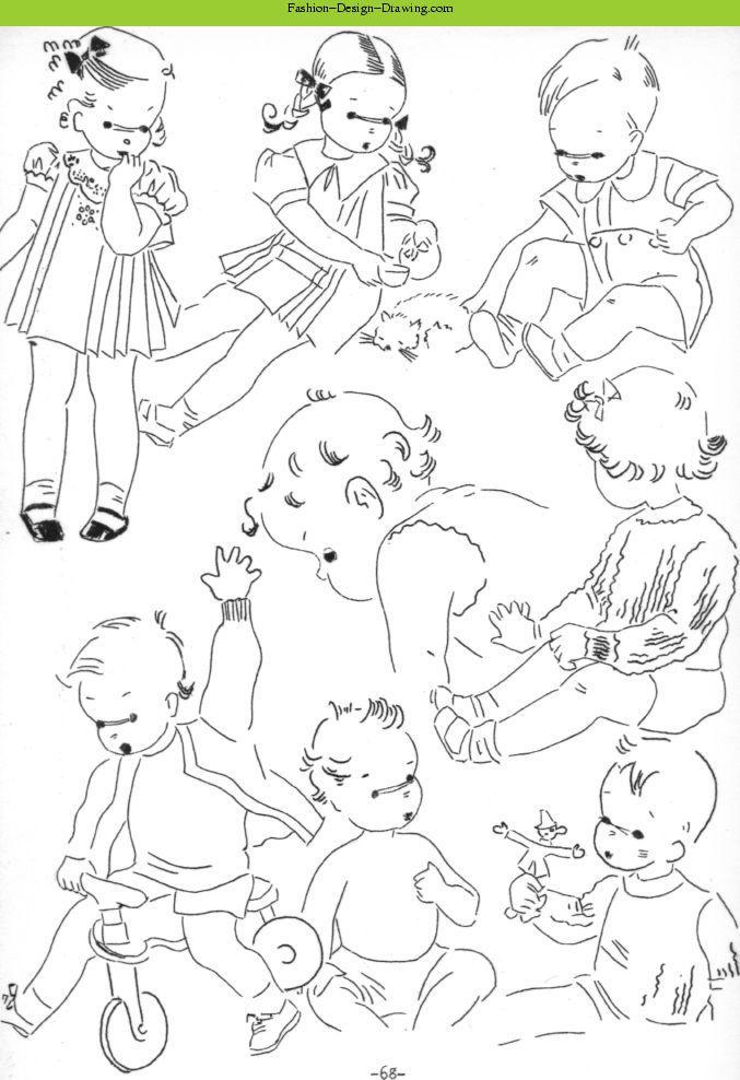 fashion design drawing sketching children part 1 - Kids Drawing Sketches