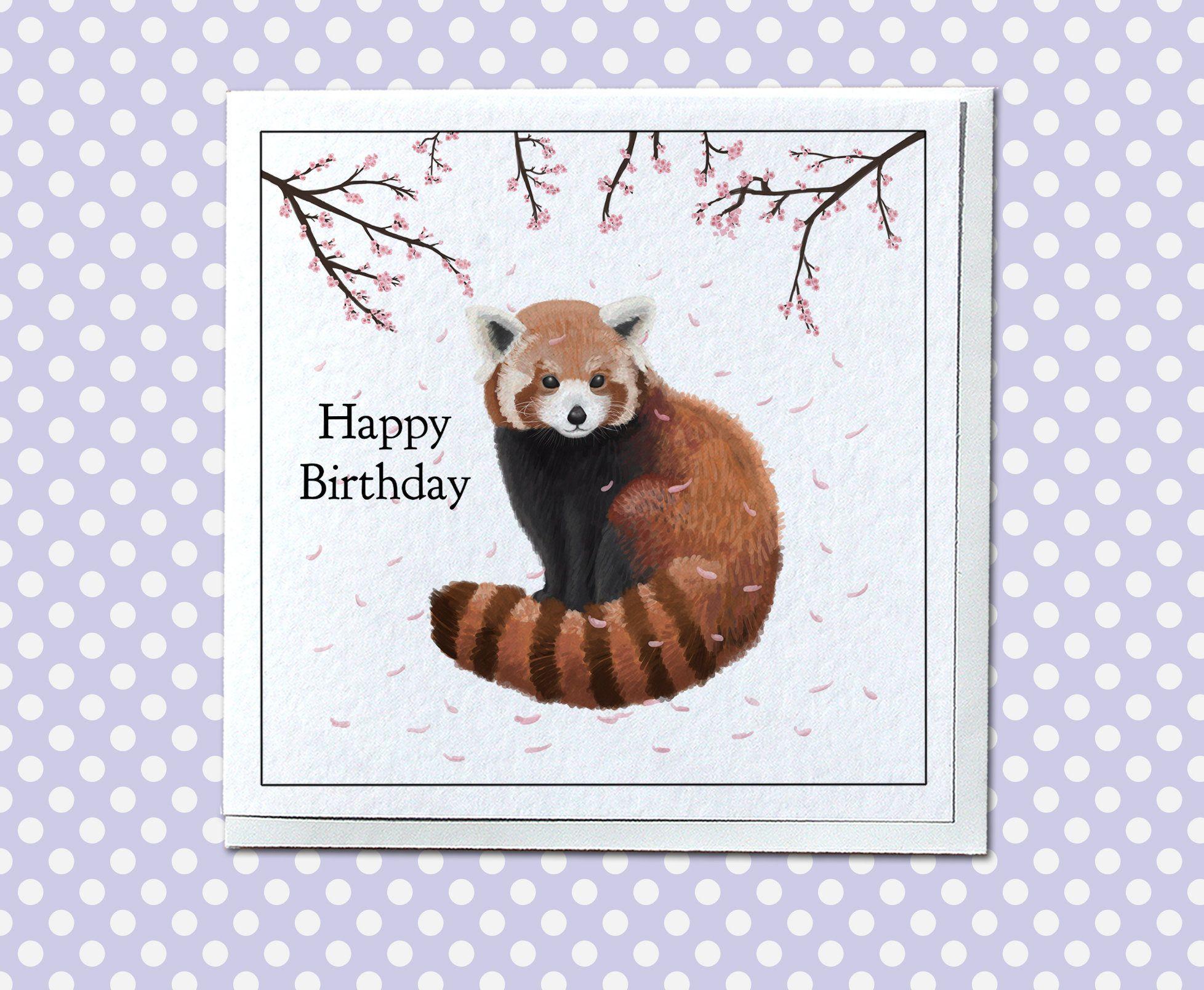 Personalised Red Panda Birthday Card Cute Card For Her Etsy Panda Birthday Cards Panda Card Panda Birthday