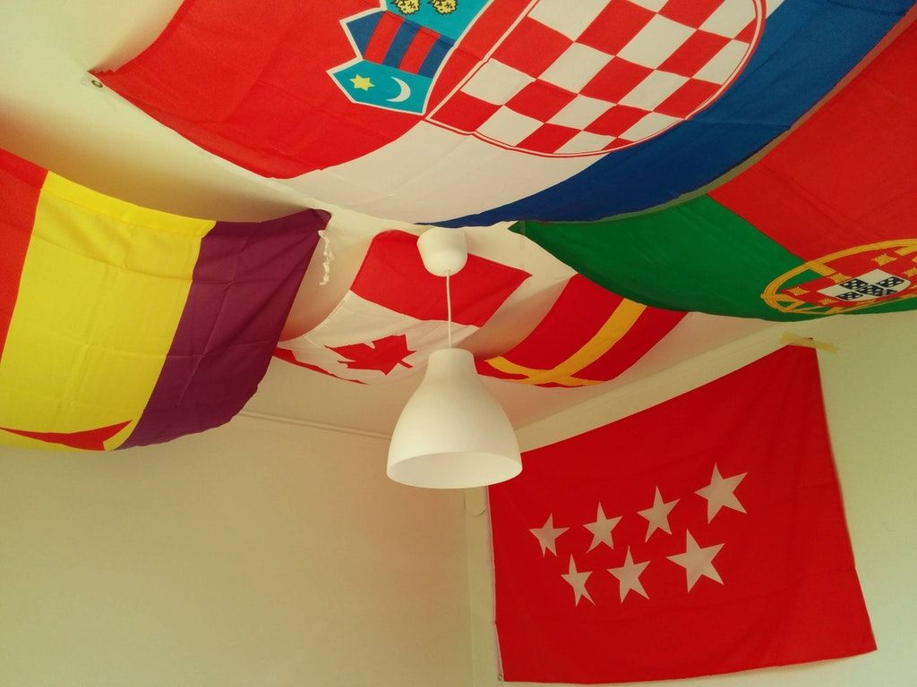Flag Collection Hanging From Ceiling Can You Guess All Of Them Vexillology Hanging Flags Hanging Flag