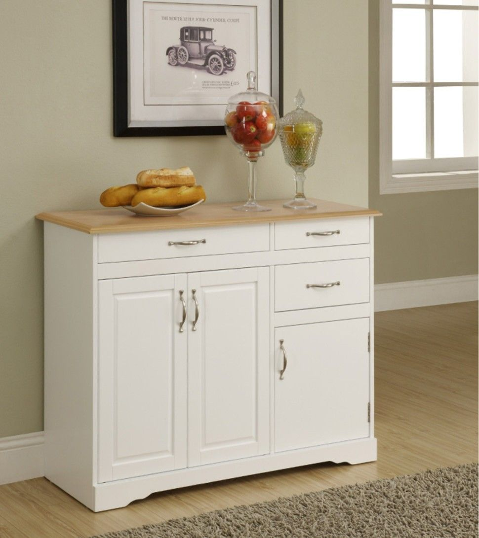 Small White Kitchen Buffet Cabinet