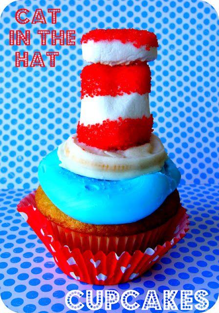 Cat in the Hat Cupcakes DIY - Made from marshmallows dipped in red sprinkles and half of a golden Oreo dipped in white chocolate.