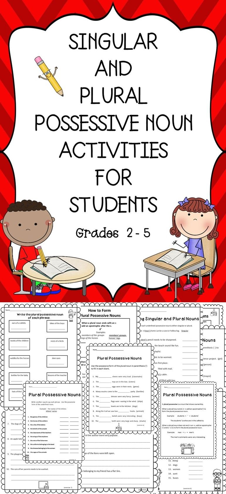 Singular and Plural Possessive Nouns | Speech Therapy | Pinterest