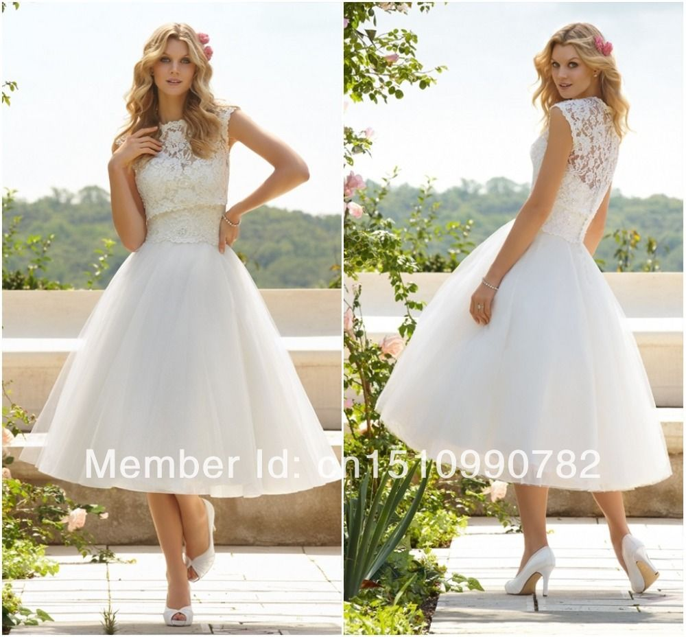 Mid calf wedding dresses with sleeves sleeve two for Calf length wedding dresses