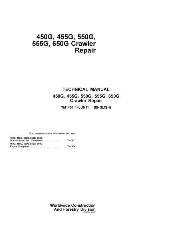 PDF JOHN DEERE 450G 455G 550G 555G 650G CRAWLER DOZER REPAIR - operation manual