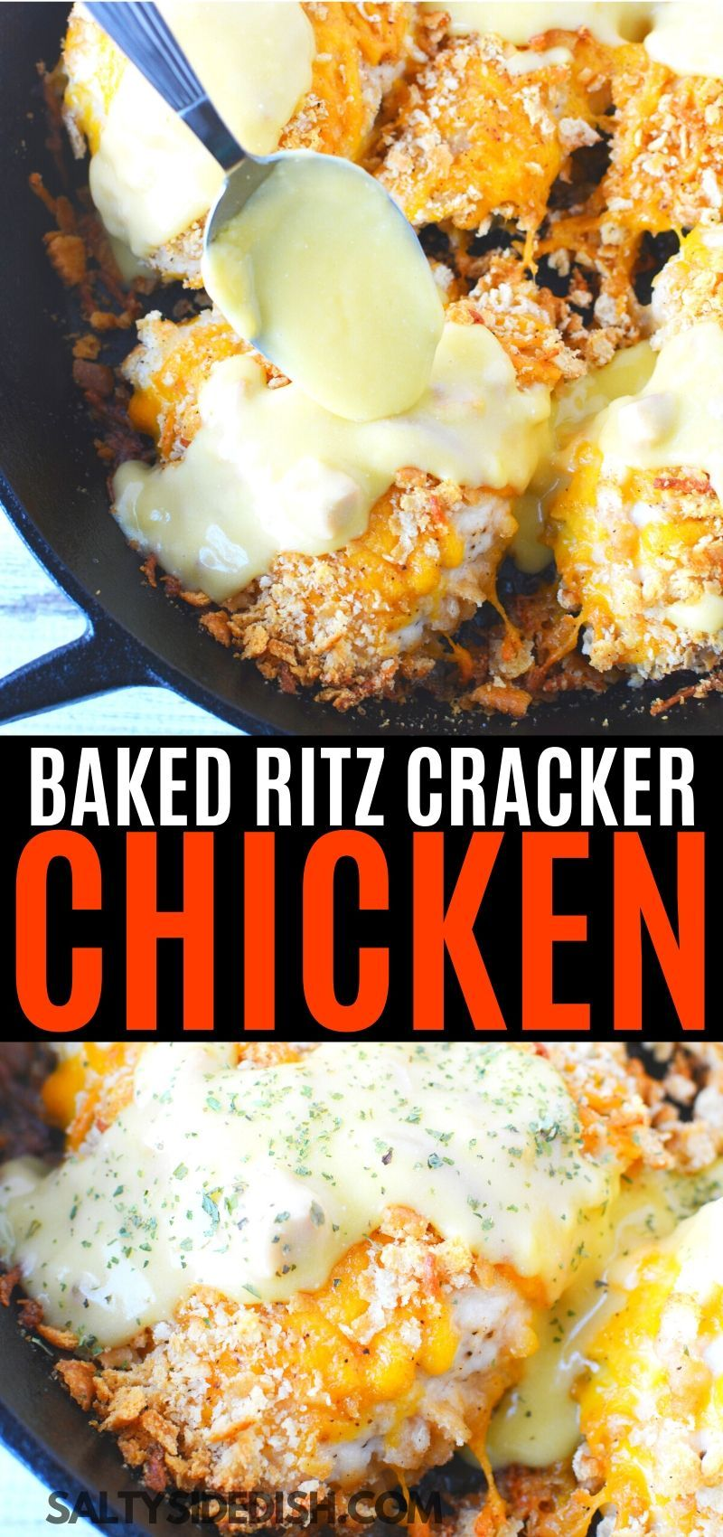 Baked Ritz Cracker Chicken With Cheddar Cheese In 2020 Ritz Cracker Chicken Cracker Chicken Recipes