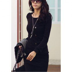 $7.31 Casual Style Solid Color Buttons Embellished Long Sleeve Cotton Dress For Women