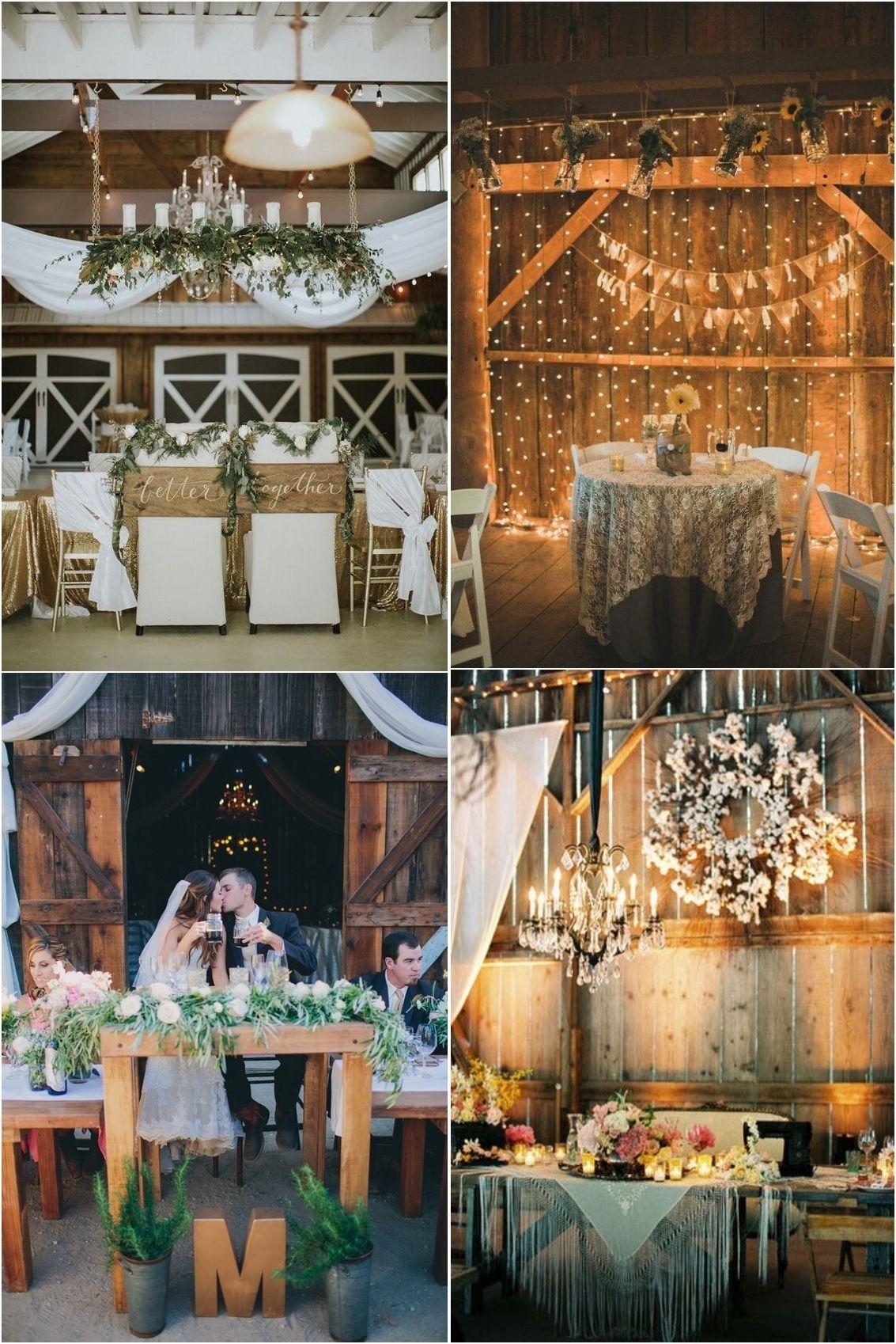 Wedding decorations barn  Top  Sweetheart Table Decor Ideas for Barn Weddings  Pinterest