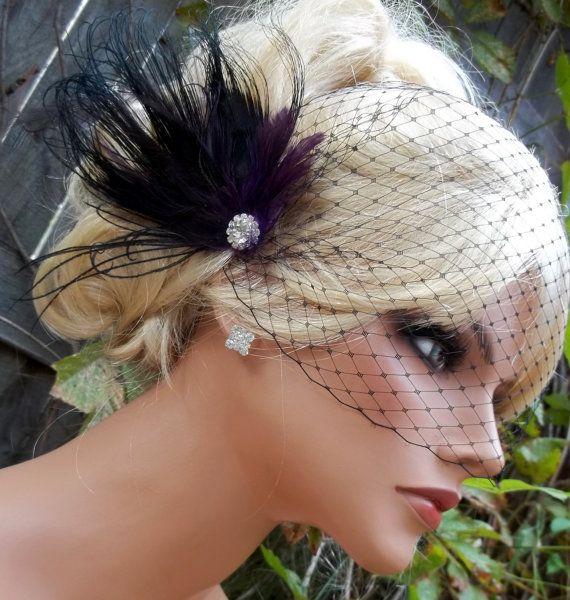 Black Dark Purple bridal hair fascinator and by kathyjohnson3 ... aeef884d048