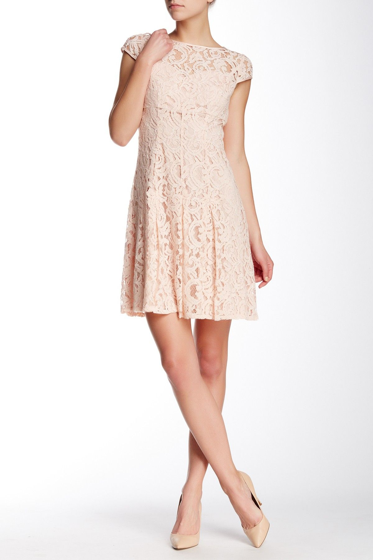 Cap Sleeve Lace Fit & Flare Dress by Adrianna Papell on @nordstrom_rack