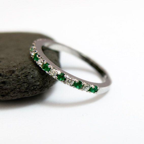 Emerald Band Opal 14k Rose Gold Ring Anniversary Gift May Birthstone Half Eternity Band Engagement Band Opal and Emerald Ring Band