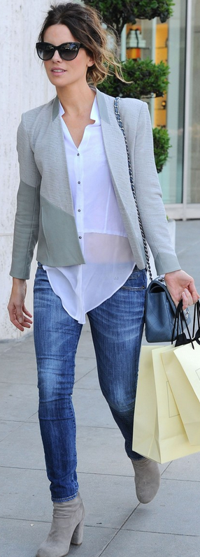 Who made  Kate Beckinsale's white button down top, blue quilted handbag and gray blazer that she wore in Beverly Hills?