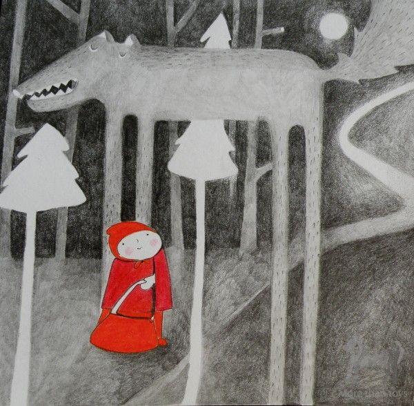 Czerwony Kapturek i wilk w Sztuka dla dzieci Baśniowe obrazki LOOKarna Czerwony Kapturek Pikinini-More than toys, zabawki ekologiczne, gotowanie z dziećmi, Pippi, Muminki, zabawki, ogrodnictwo, książki