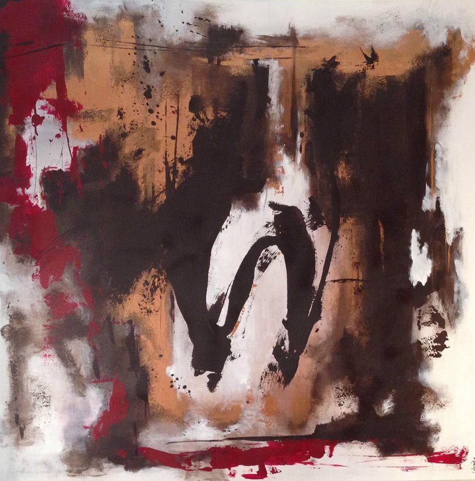 Pintura abstracta en lienzo de 1 mt x 1 mt , pintado con acrílico. Urquiv /  US$ 540