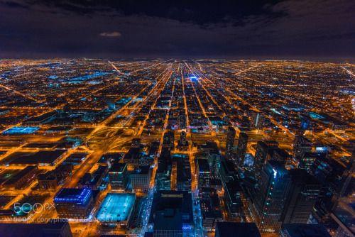 Downtown Chicago view from the Skydeck of Wills t by alqatam  D810 Muhammad al-qatam Nikon alqatam architecture chicago cityscape m.alqatam night orange photograp