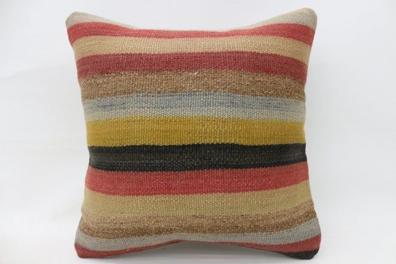 18x18 Kilim Pillow, Bohemian Pillow, Throw Pillow, Cushion Cover, Designer Pillow, Red Pillow, Strip
