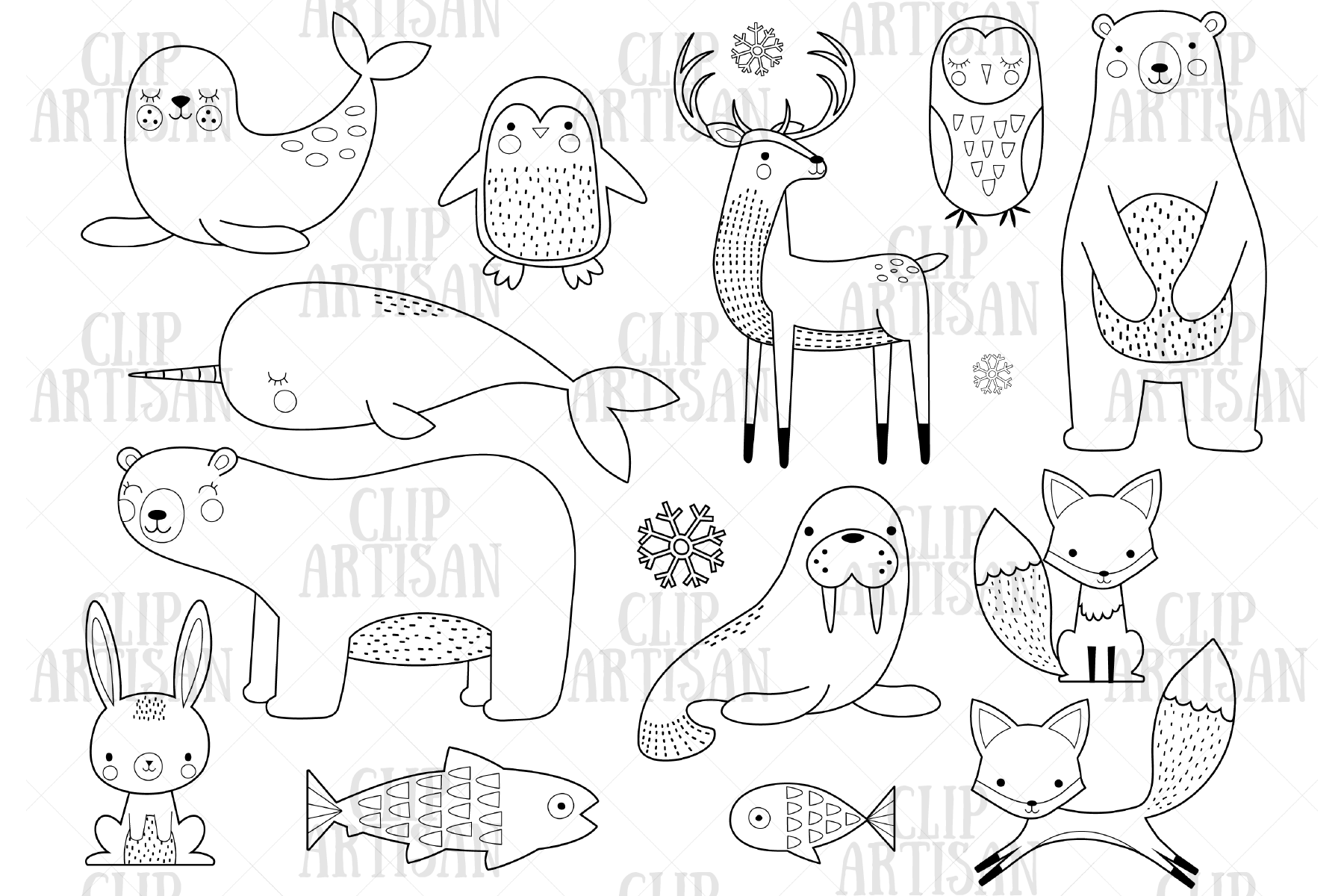 Arctic Animals Clipart Digital Stamp Graphic By