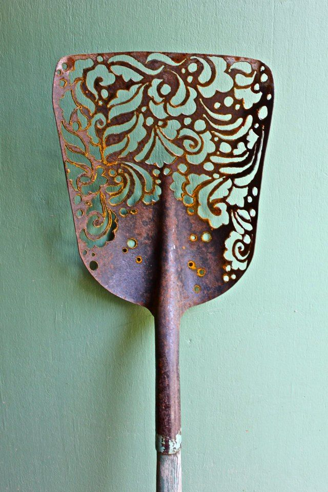 Hand Made Plasma Cut Shovel Rusty Yard Art Plasma