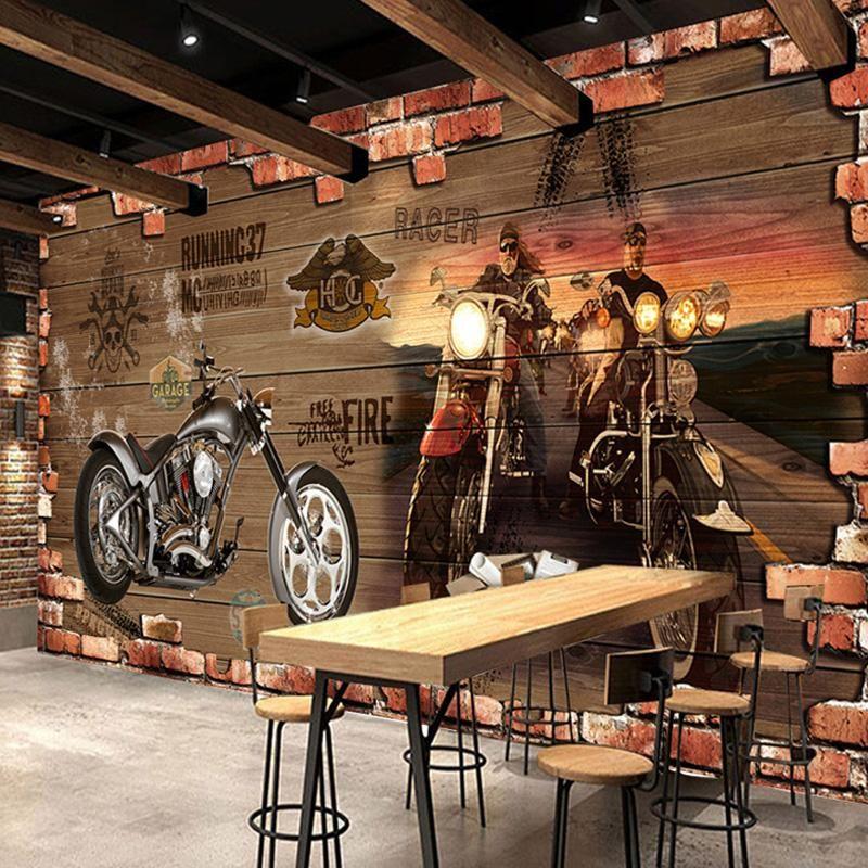 3D Mural Wallpaper Retro Motorcycle Brick In 2019