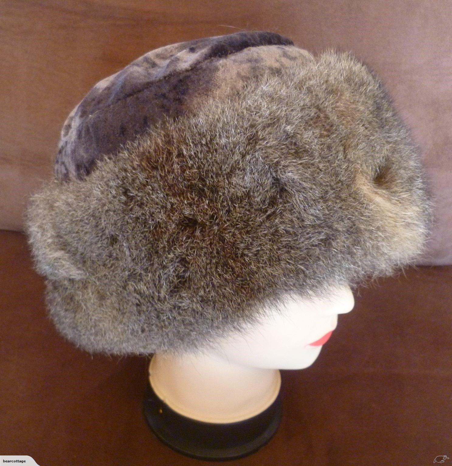 c210ccfc078 Pillbox Style Hat - Possum Fur Trim - Natural