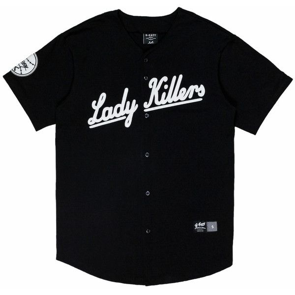5602501f LadyKillers Baseball Jersey (Black) ($70) ❤ liked on Polyvore featuring  tops, shirts, baseball jersey shirts, shirt top, baseball jersey top and  baseball ...