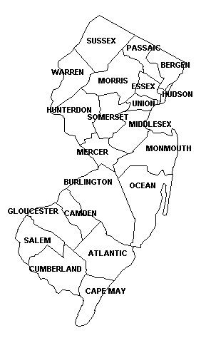 NJ Genealogy MAP Showing New Jersey Counties Find Your Roots - Nj county map