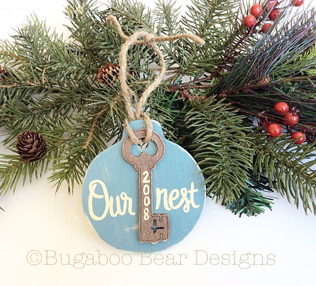 New home ornaments personalized - Our First Home Ornament First House Ornament Rustic Wood Ornament Personalized New