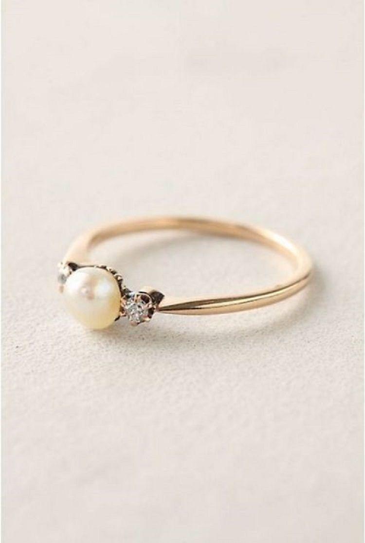 Vintage Pearl Rings Promise Wedding Engagement Ring
