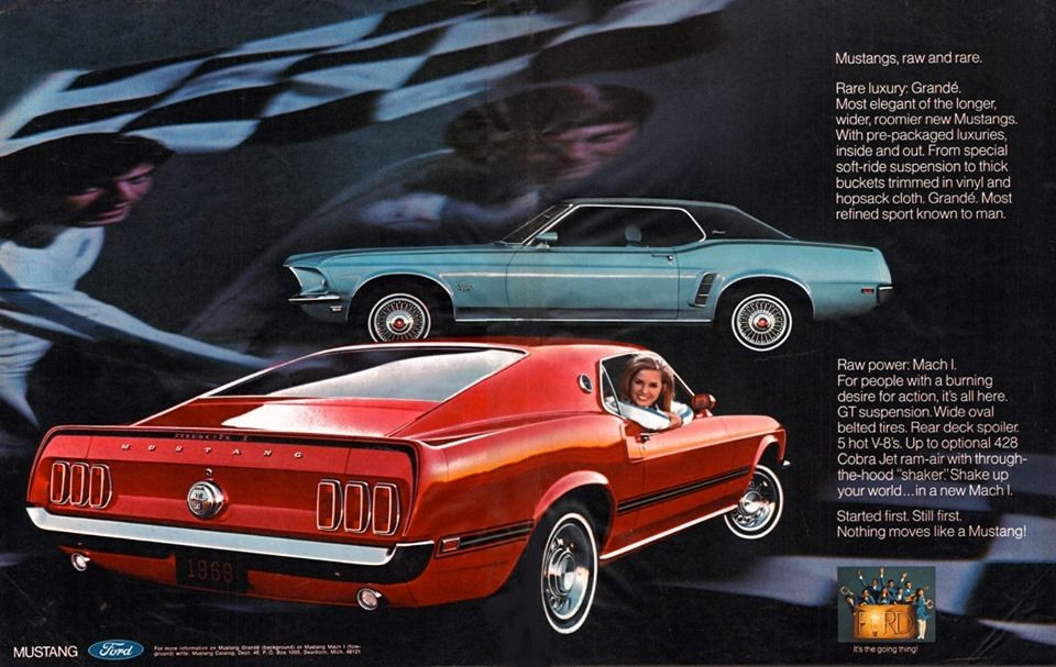 1969 Ford Mustang Advertisement 1boblog On Tumblr Vintage Ads