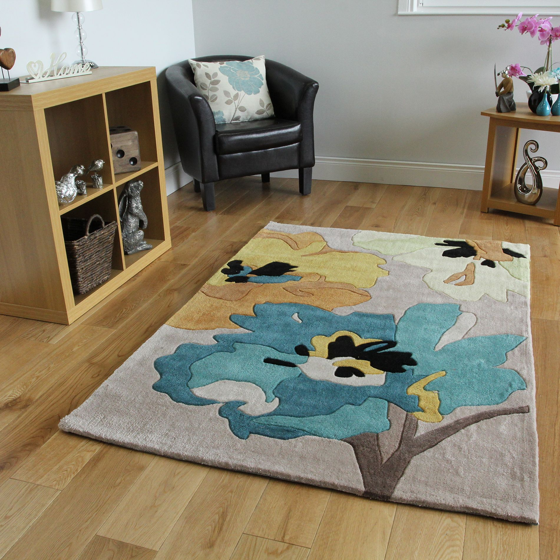Teal & Yellow Floral Contemporary Rug Burano Small on sale
