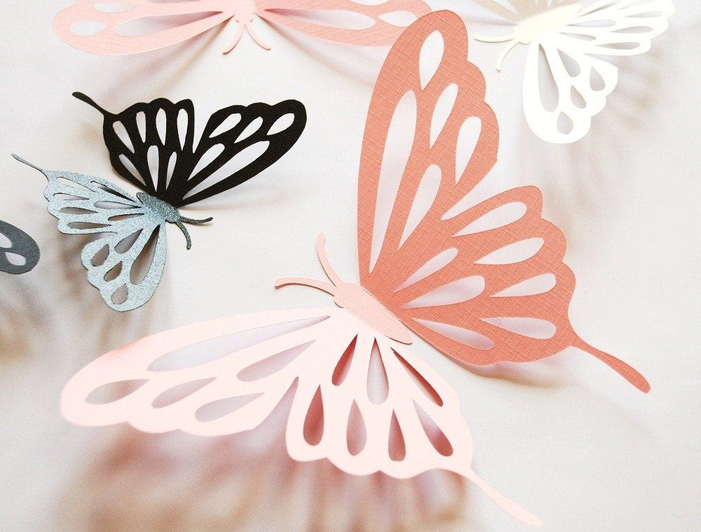 14  SMALL 3D DIE CUT BUTTERFLY TOPPERS  BLACK WHITE