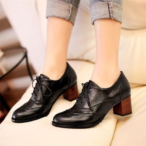 Thick Heel Oxfords Retro Boat Shoes