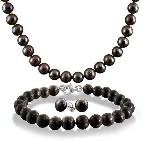 PriceRock Sterling Silver 6-7mm Black Freshwater Cultured Pearl Necklace 18 Inches Long