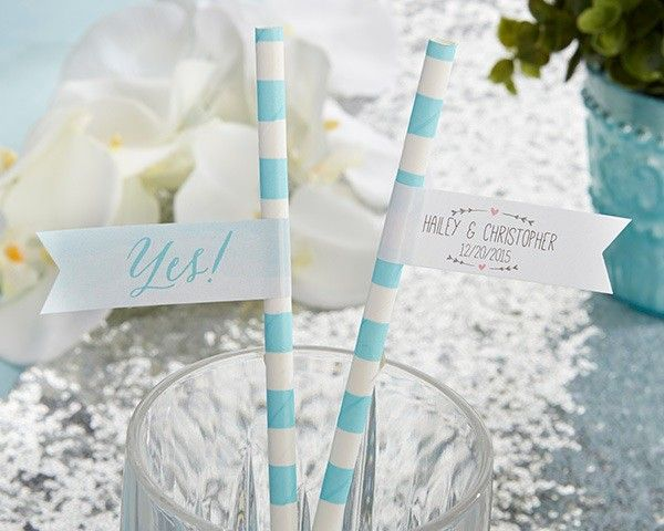 Personalized Party Straw Flags - He Asked, She Said Yes