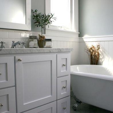 Beadboard With Subway Tile Backsplash Behind Sink Grey Bathrooms Designs Gray Bathroom Decor Subway Tiles Bathroom