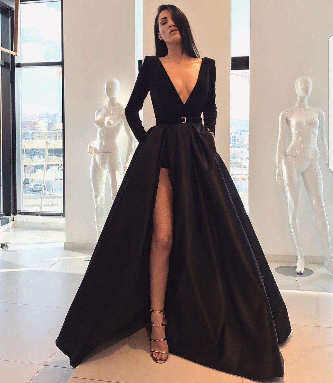 Lia Stublla black gown slit | My Style | Pinterest | Gowns, Black ...