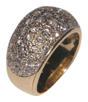 Custom Made Custom Pave Diamond and Yellow Gold Dome Ring Size 6. REDUCED