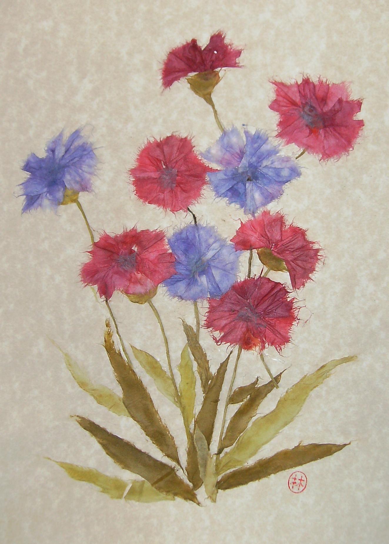 Paper Art Torn Paper Art Wild Flowers Chigiri E Art Paper