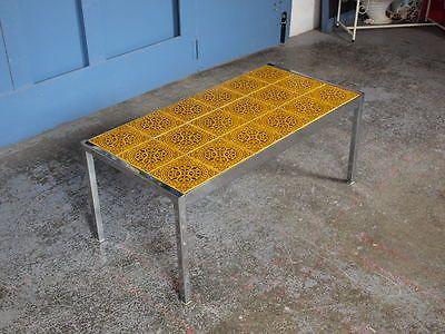 Vintage Mid Century 1960s 1970s Chrome Tiled Coffee Table Danish Scandi Retro Tiled Coffee Table Danish Coffee Table Coffee Table