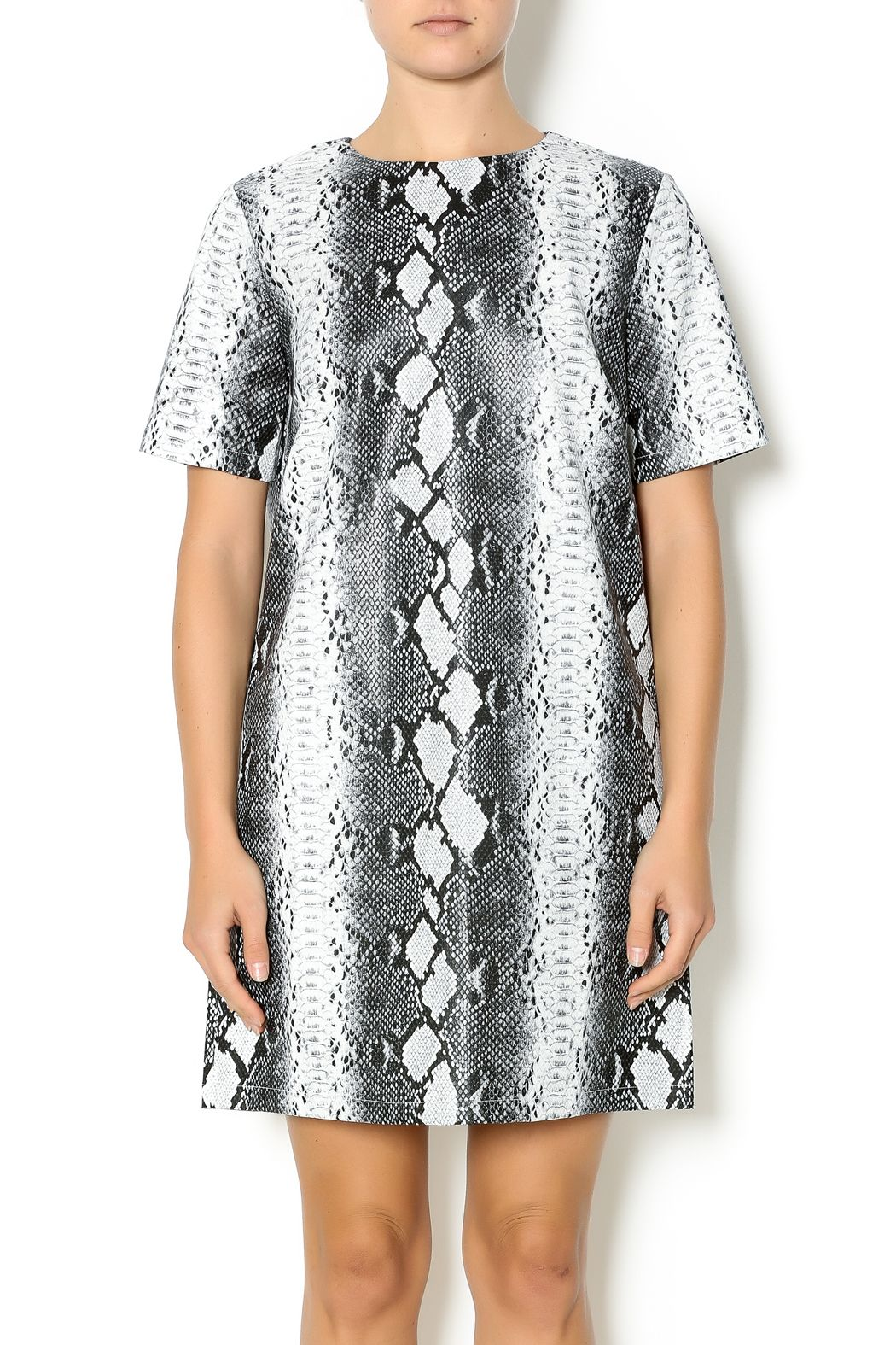 08a26c4c9d1f Black and white striking snake skin printed dress with short sleeve, boxy  cut and an exposed silver zipper. Snake Print Dress by HYPR.